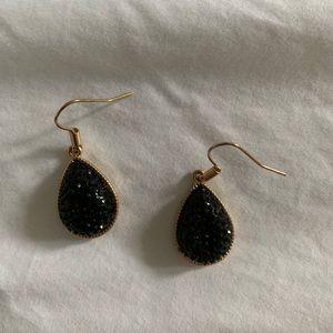 Black hematite and gold earrings costume jewelry